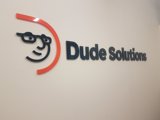 3D cut acrylic logo Dude Solutions