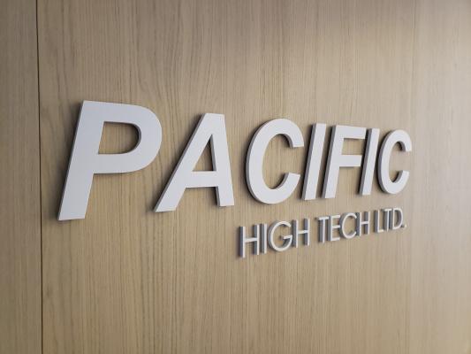Custom-painted-white-3D-cut-aluminium-logo-PACIFIC-HIGH-TECH