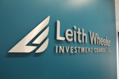 Brushed aluminium cut out letters Leith Wheeler