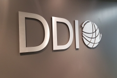 Brushed aluminium cut out logo DDI