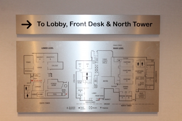 Brushed aluminium lobby sign-