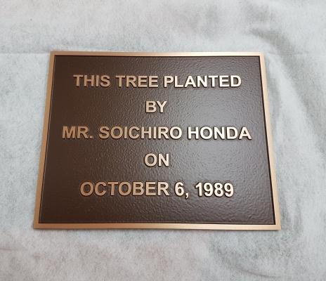 Custom raised text bronze plaque Honda-