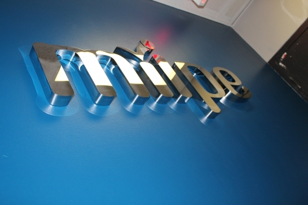 Fabricated polished stainless steal letters Miipe-