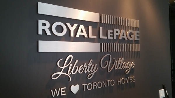 Royal Lepage half inch solid brushed aluminium cut out letters, raised from the wall-