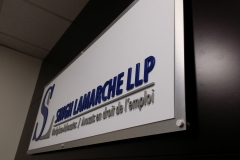 Reception sign of combination of cut out aluminium with brushed and white aluminium backers-