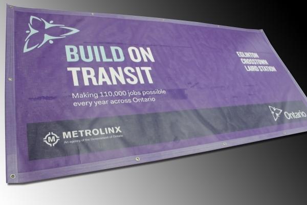 Eglinton Crosstown Laird Station mesh banner