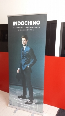Retractable banner for Indochino