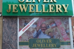 Titanium brushed gold channel letters Oliver Jewellery