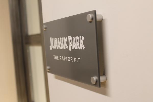 Jurassik Park acrylic lobby sign