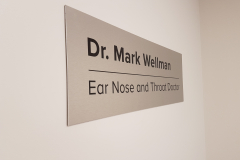 Brushed aluminium lobby sign DR