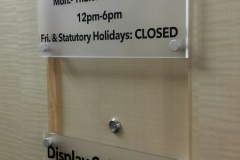 Frosted acrylic directional signs CHAZ