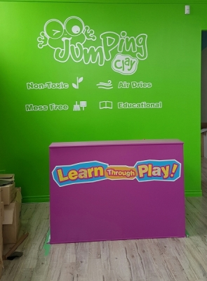 Custom large format wall graphics Jumping clay