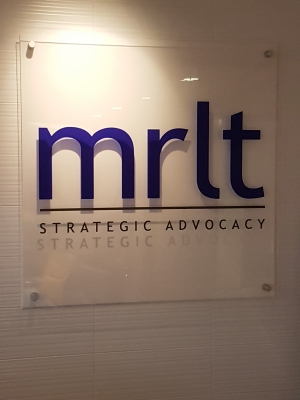 Clear acrylic reception sign MRLT