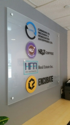 Frosted acrylic with vinyl graphics lobby sign s