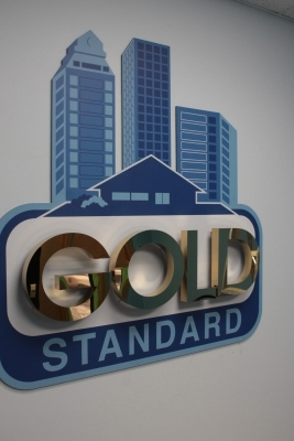 Polished gold letters on 3D raised print