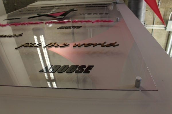 Raised acrylic lobby sign
