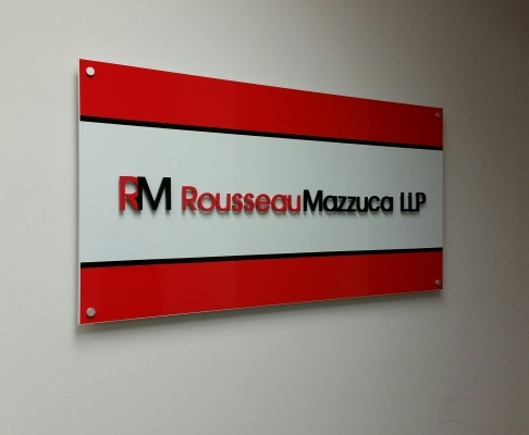 Reception sign of combination of aluminium.
