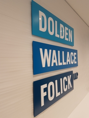 Reception sign with 3D raised logo Dolden