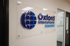 Clear acrylic reception sign Oxford