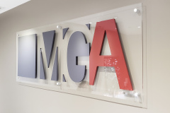 Reception-sign-with-3D-cut-logo-and-clear-acrylic-panel-MGA