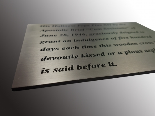 Brushed steel engraved plaque p
