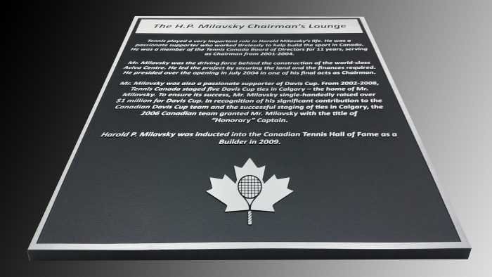 Cast aluminium plaque Tennis Canada