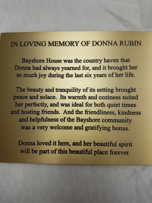 Etched bronze plaque Donna