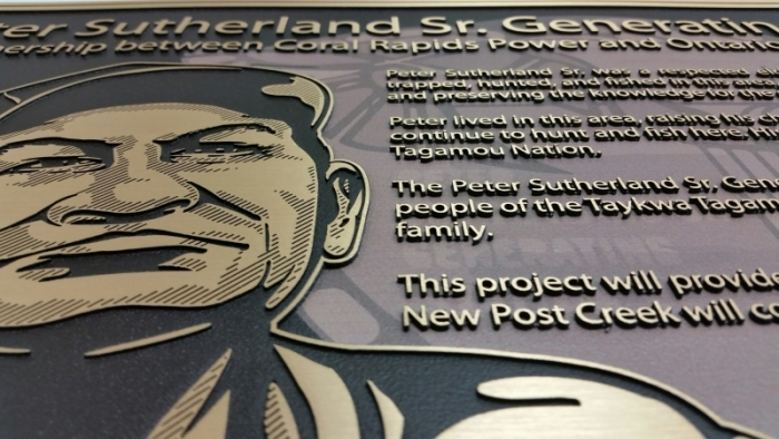 Raised face bronze plaque, Ontario Power Generation
