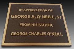 Bronze plaque with raised text In appreciation
