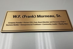 Etched brass plaque W