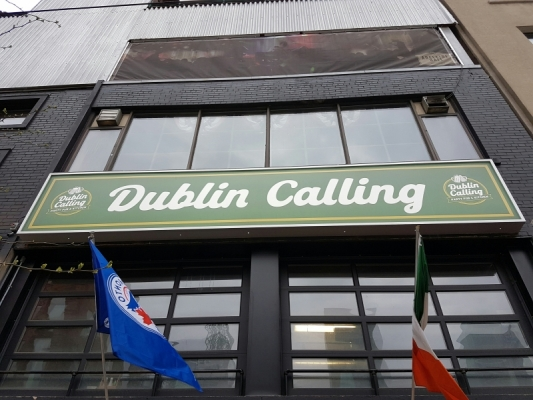 Custom LED illuminated sign box for Dublin Calling