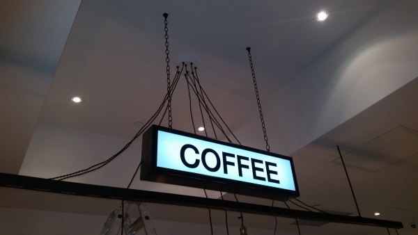Hanging LED illuminated coffe box
