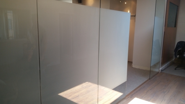 Close look of frosted vinyl on a glass MY