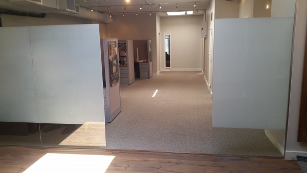 Frosted vinyl on Glass
