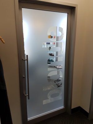 Full frosted vinyl with letters removed B