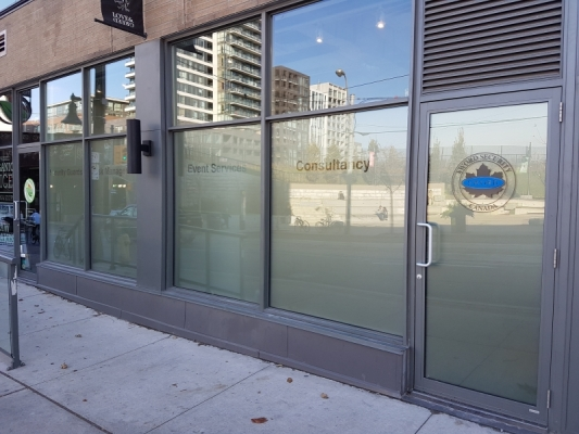 Full frosted with custom text from inisde for Sword security Toronto